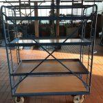 4 Katlı Kafesli Korkuluklu Korumalı Koli Malzeme Kasa Taşıma Arabası (1)