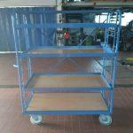 4 Katlı Kafesli Korkuluklu Korumalı Koli Malzeme Kasa Taşıma Arabası (2)