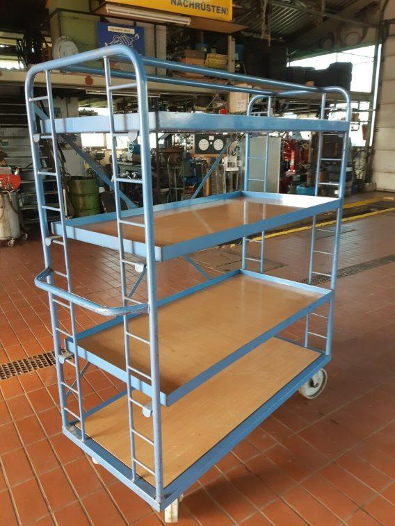 4 Katlı Kafesli Korkuluklu Korumalı Koli Malzeme Kasa Taşıma Arabası (4)