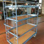4 Katlı Kafesli Korkuluklu Korumalı Koli Malzeme Kasa Taşıma Arabası (5)