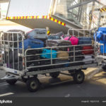 Airport luggage Trolley with suitcases before loading into the aircraft